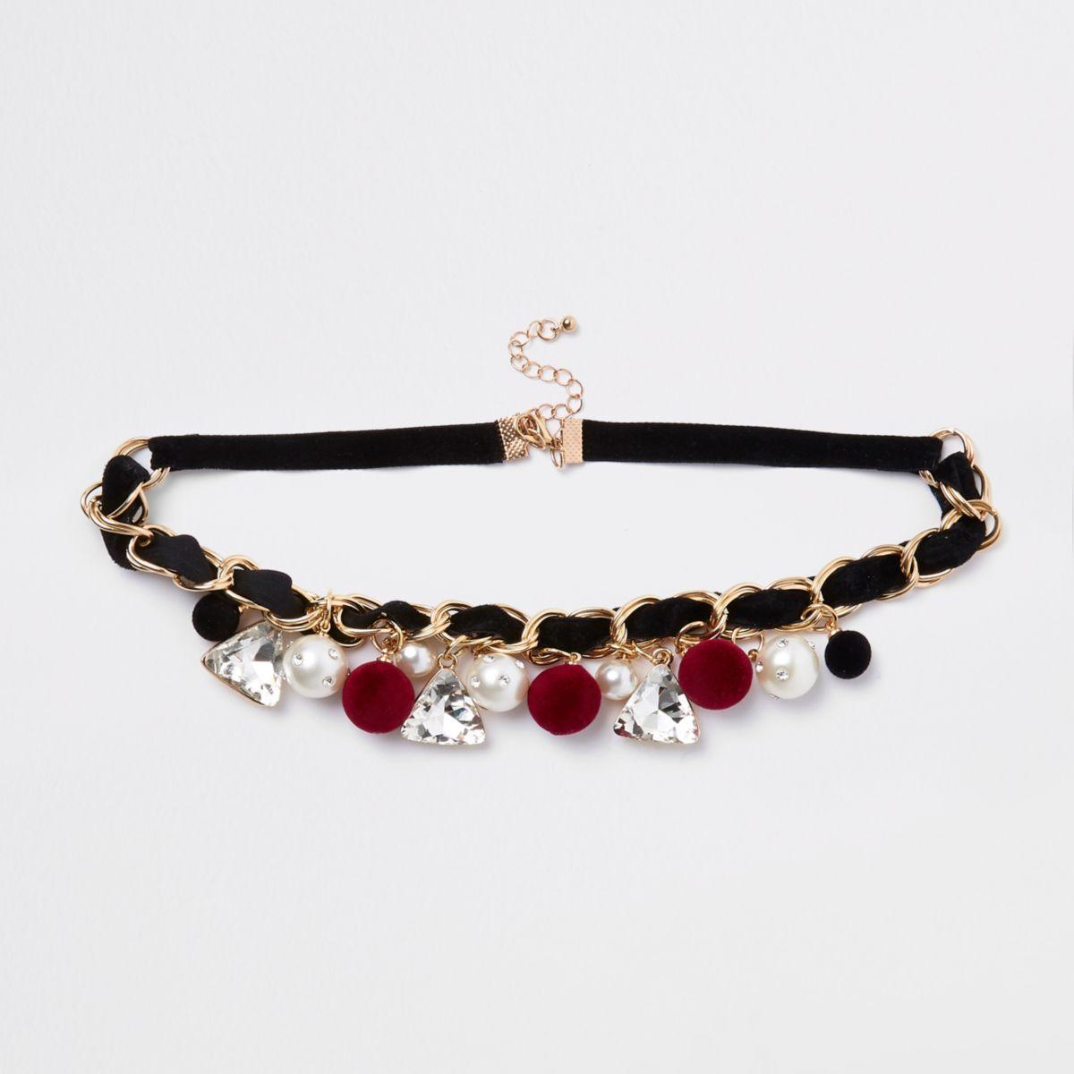 Black gold tone jewel and pom pom necklace