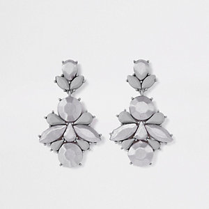 Grey satin jewel drop earrings