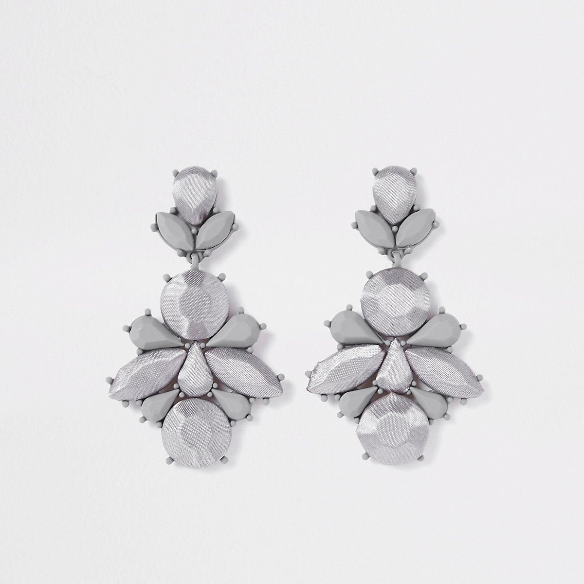 Grey satin jewel drop earrings