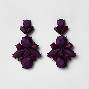 Purple satin jewel drop stud earrings