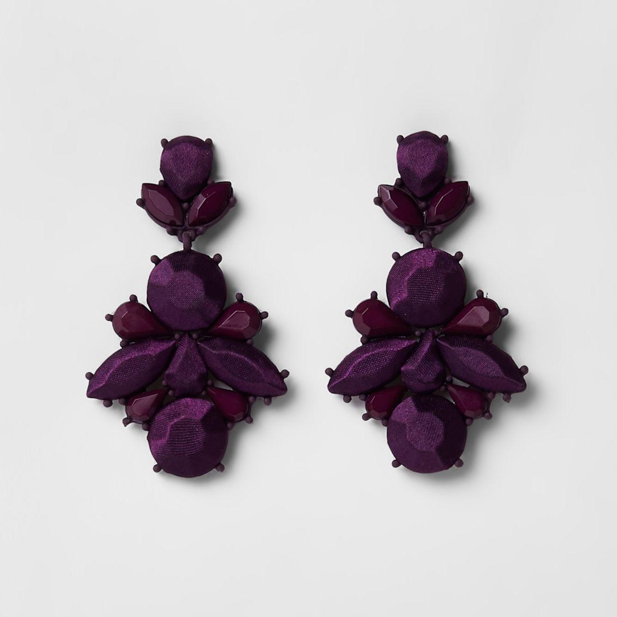 Purple satin jewel drop stud earrings