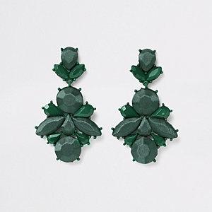 Pendants d'oreilles en satin vert foncé à pierre