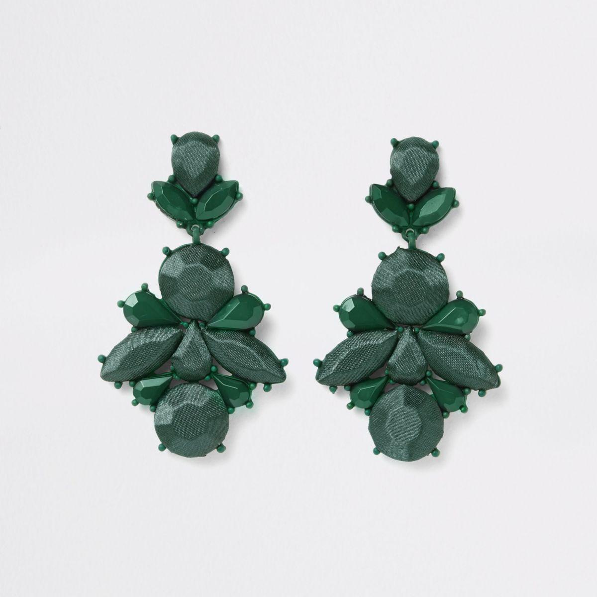 Dark green satin jewel drop earrings