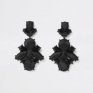 Zwarte satijnen oorhangers met siersteentjes