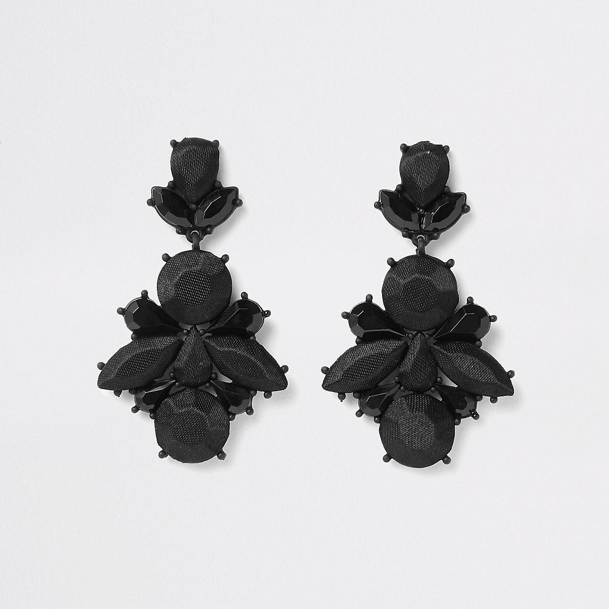 Black satin drop jewel earrings
