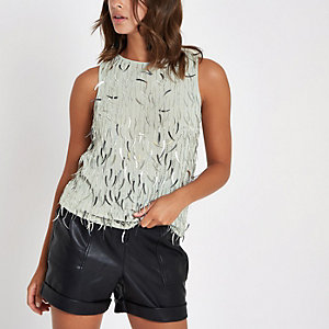 Light grey sequin tank top