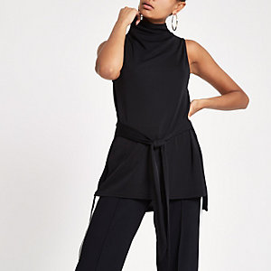 Black roll neck belted top