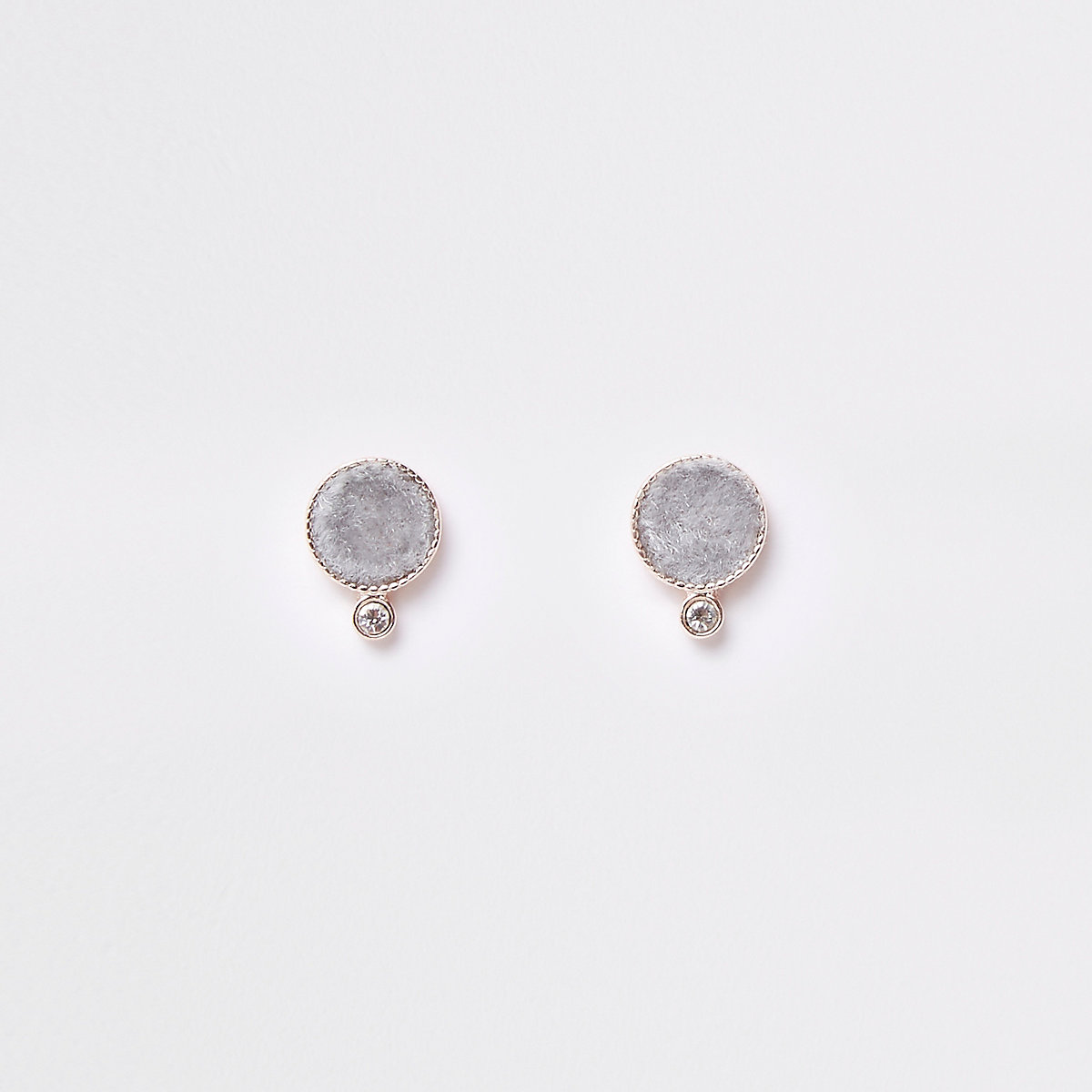 Grey diamante fabric circle stud earring