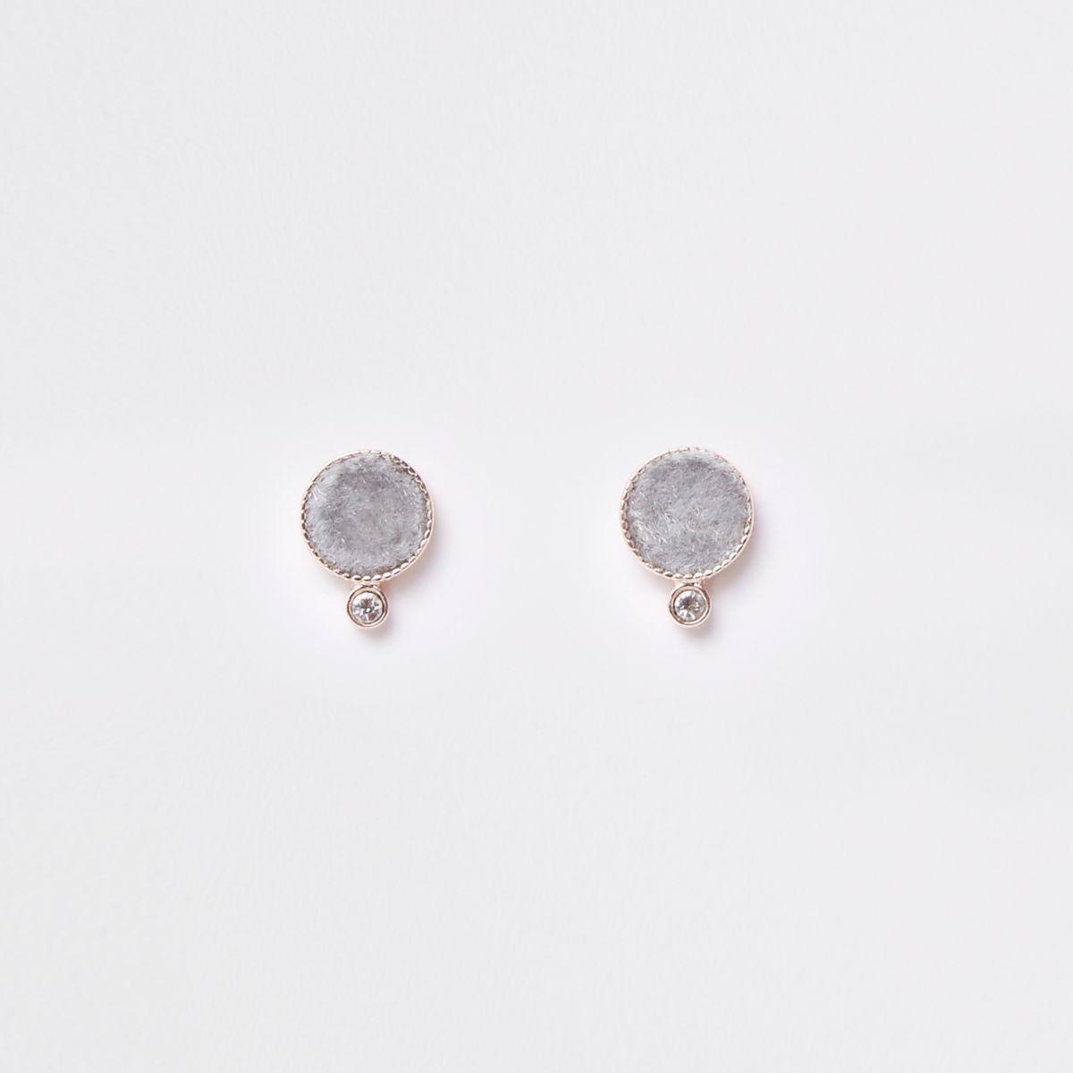 Grey rhinestone fabric circle stud earring