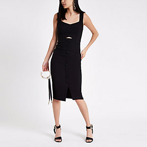 Black button front midi bodycon dress