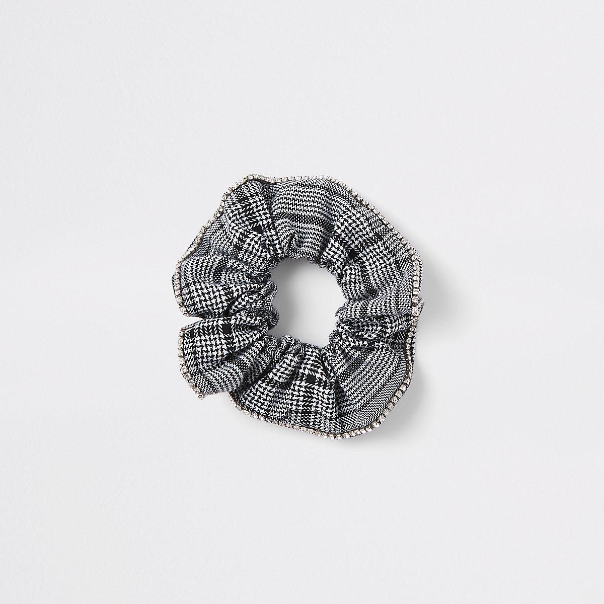Black check print rhinestone scrunchie