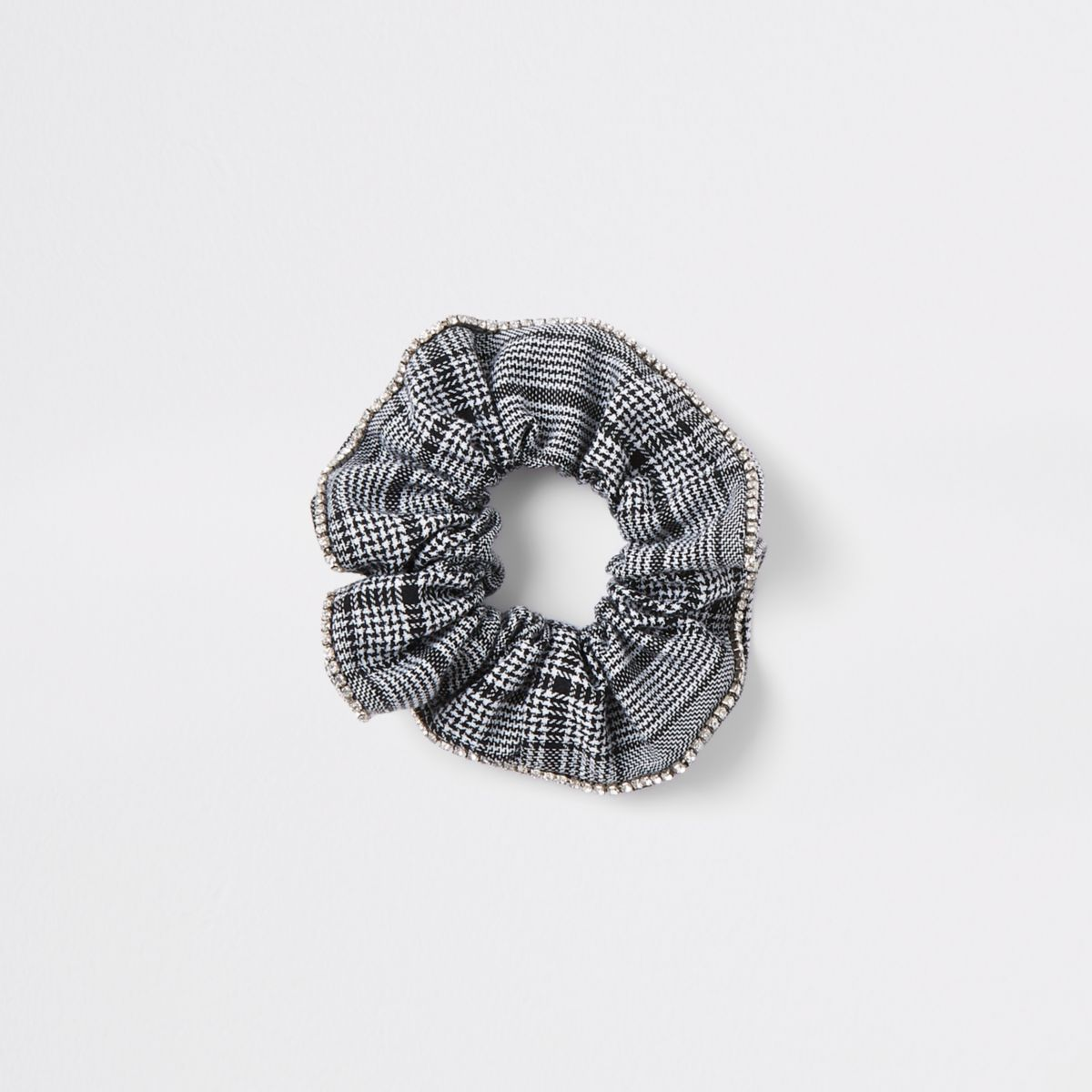 Black check print diamante scrunchie