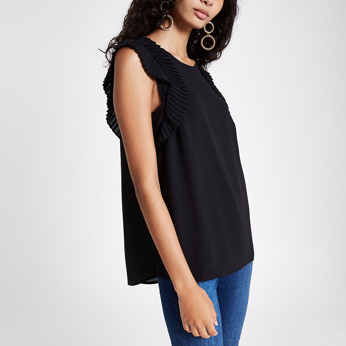 Black pleated shoulder top