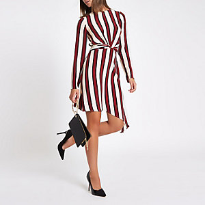 Red stripe wrap front long sleeve midi dress