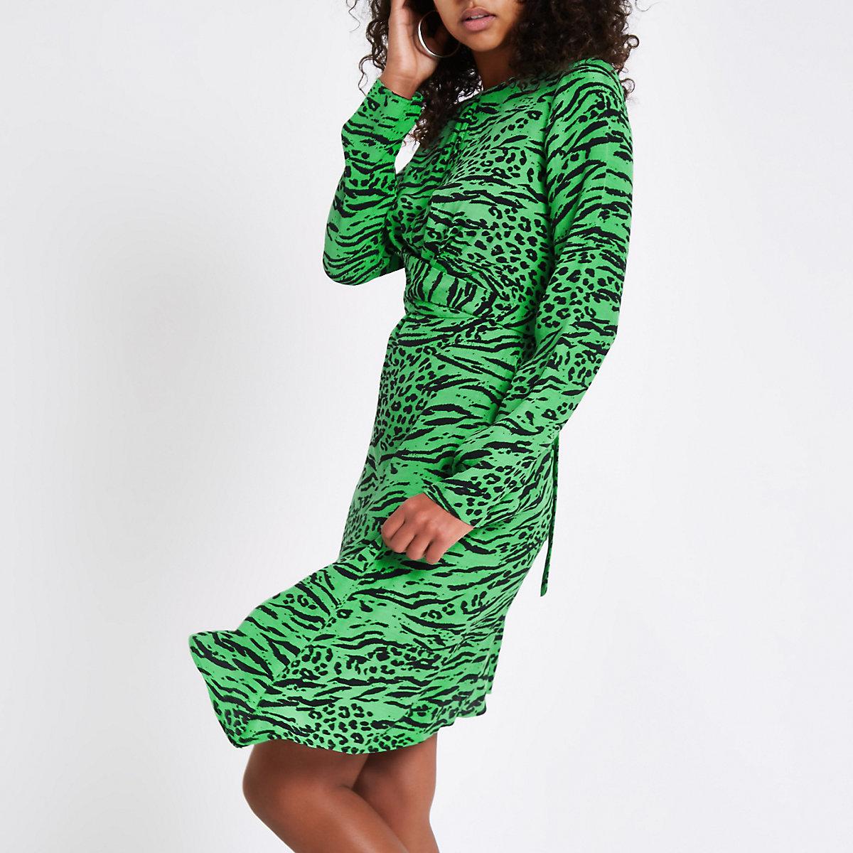 Green leopard print cross front midi dress
