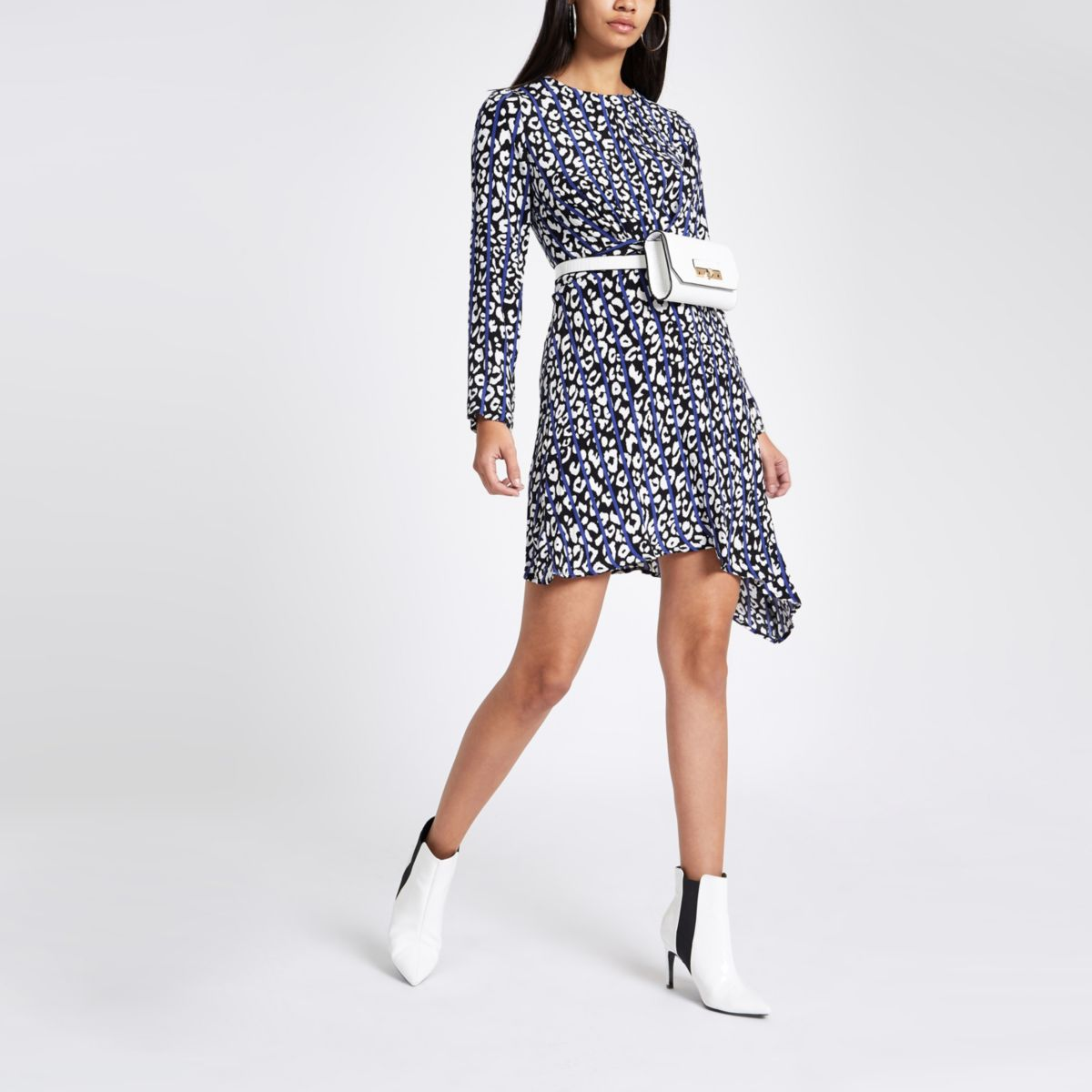 Blue leopard print cross front midi dress