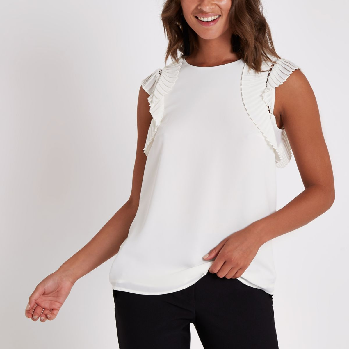 White pleated shoulder top