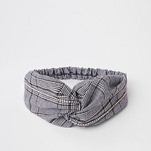 Zwarte gedraaide haarband met ruitprint