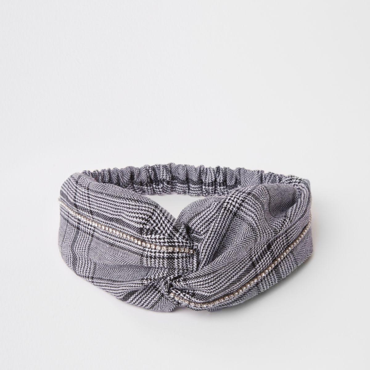 Black check print twist headband