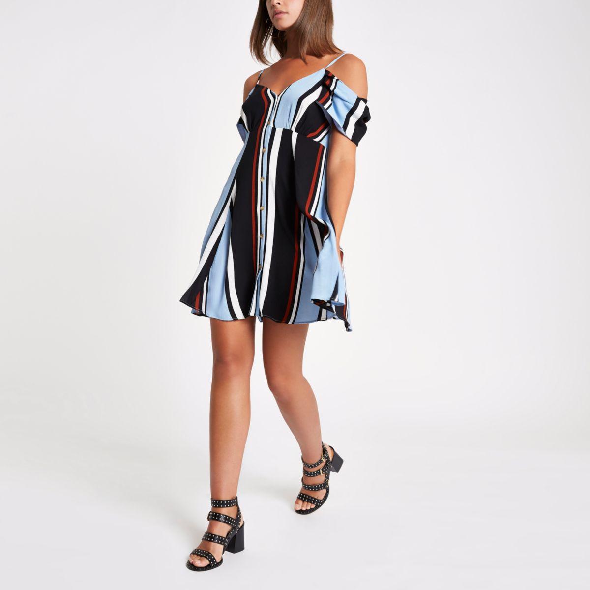 Blue stripe cold shoulder button down dress
