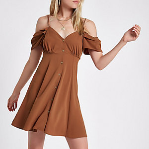 Brown cold shoulder button through dress