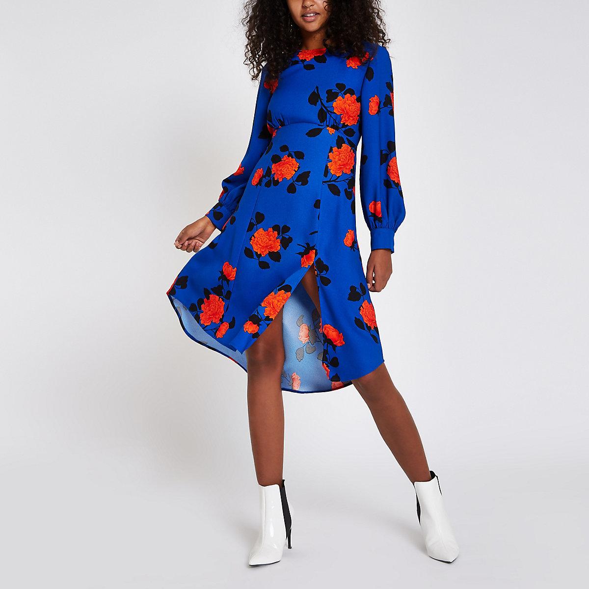 Blauwe midi-jurk met bloemenprint en strik achter