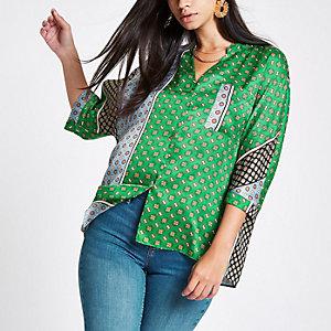 Green tile print v neck button up blouse