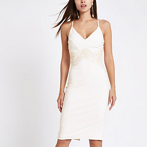 White lace insert bodycon midi dress
