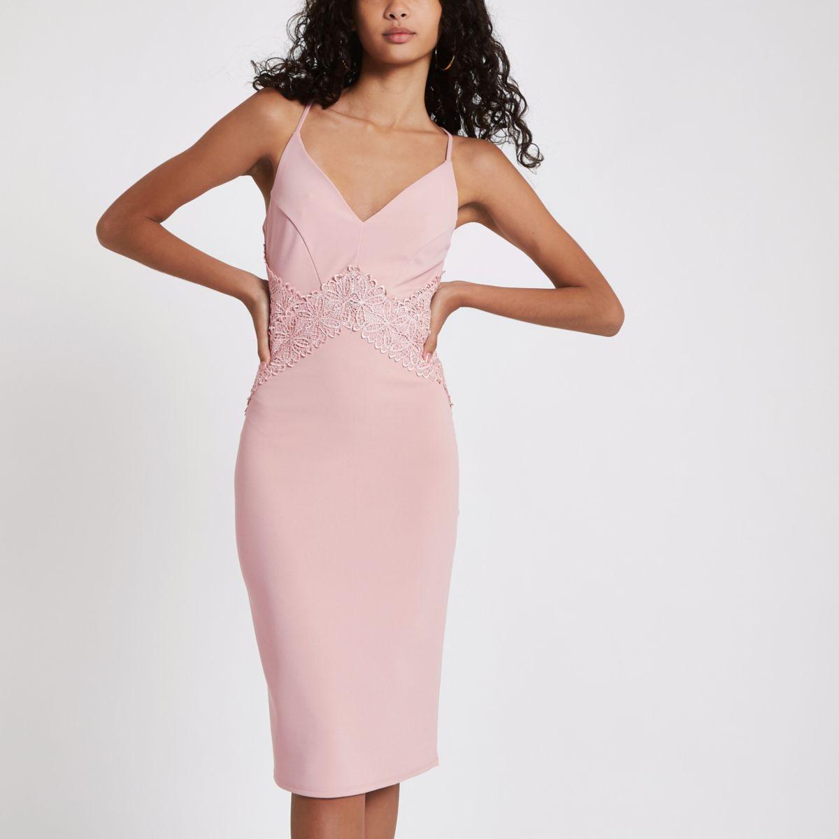 Light pink lace insert bodycon midi dress