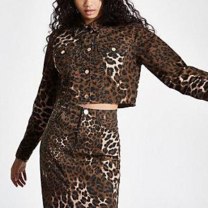 Veste en denim courte à imprimé léopard marron