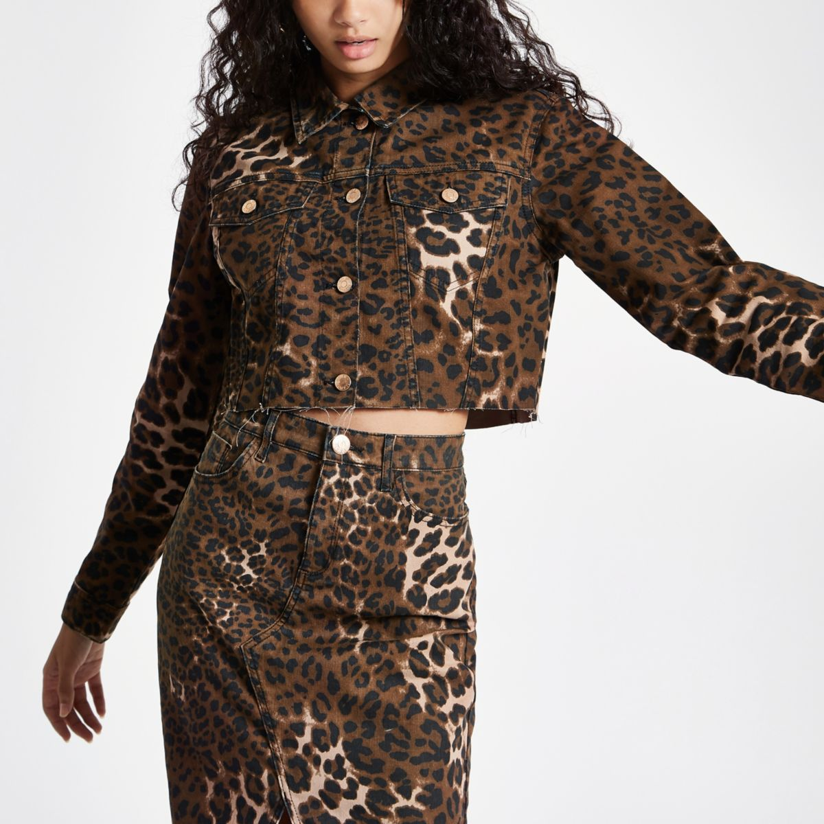 Brown leopard print cropped denim jacket