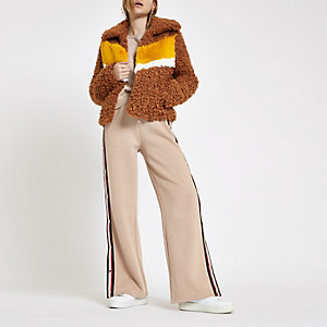 Light brown shearling fur colour block jacket