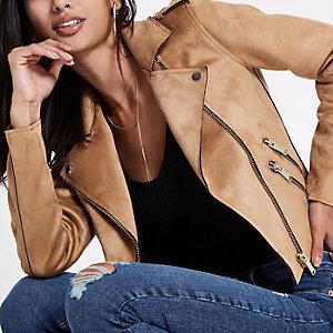 Brown faux suede biker jacket