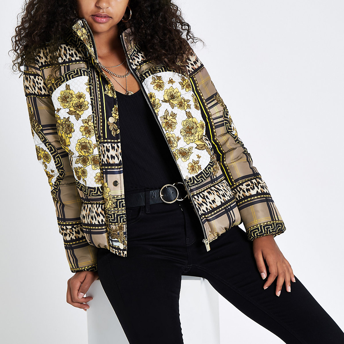 Light brown scarf print puffer coat