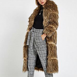 Light brown faux fur tipped longline coat