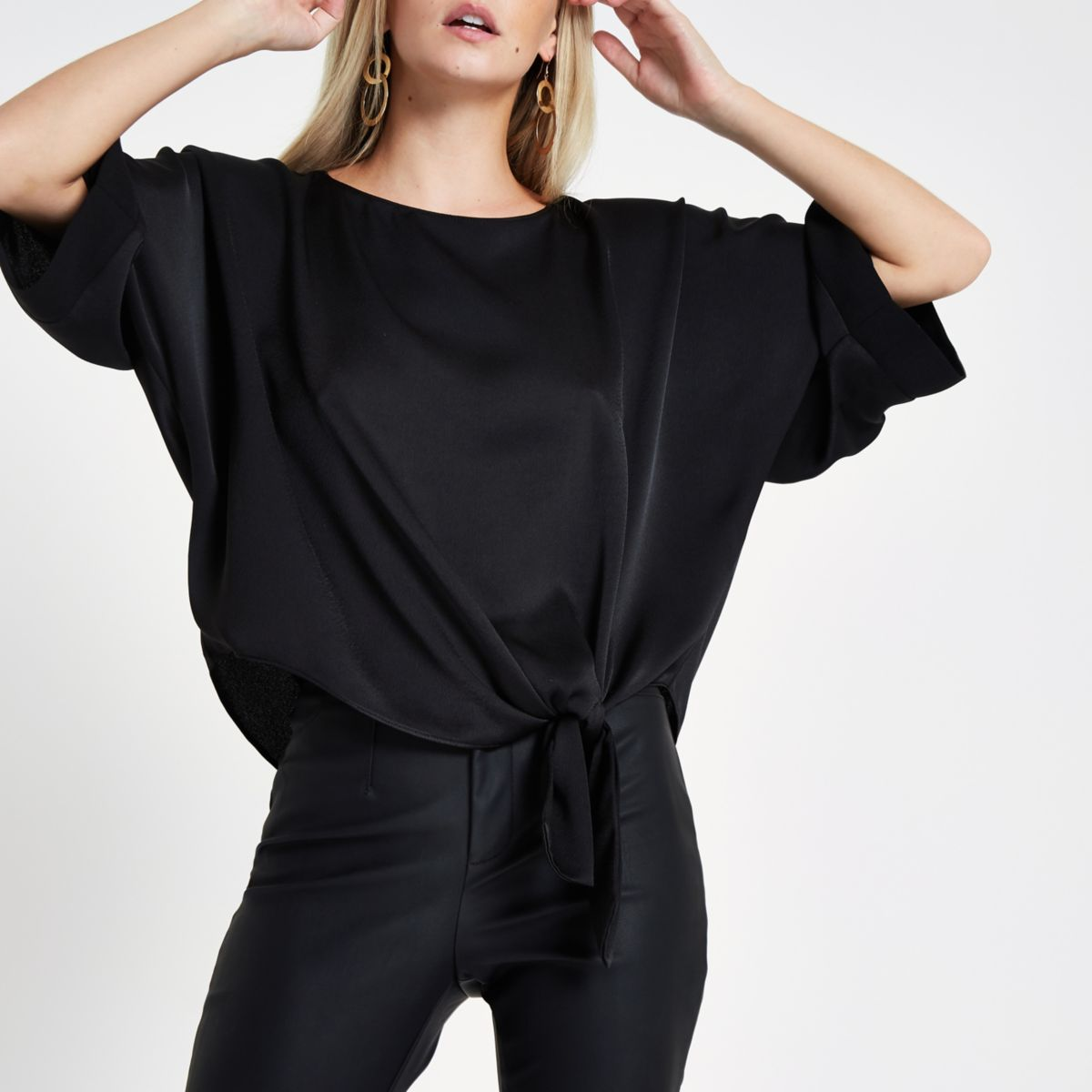 Petite black loose fit knot front top