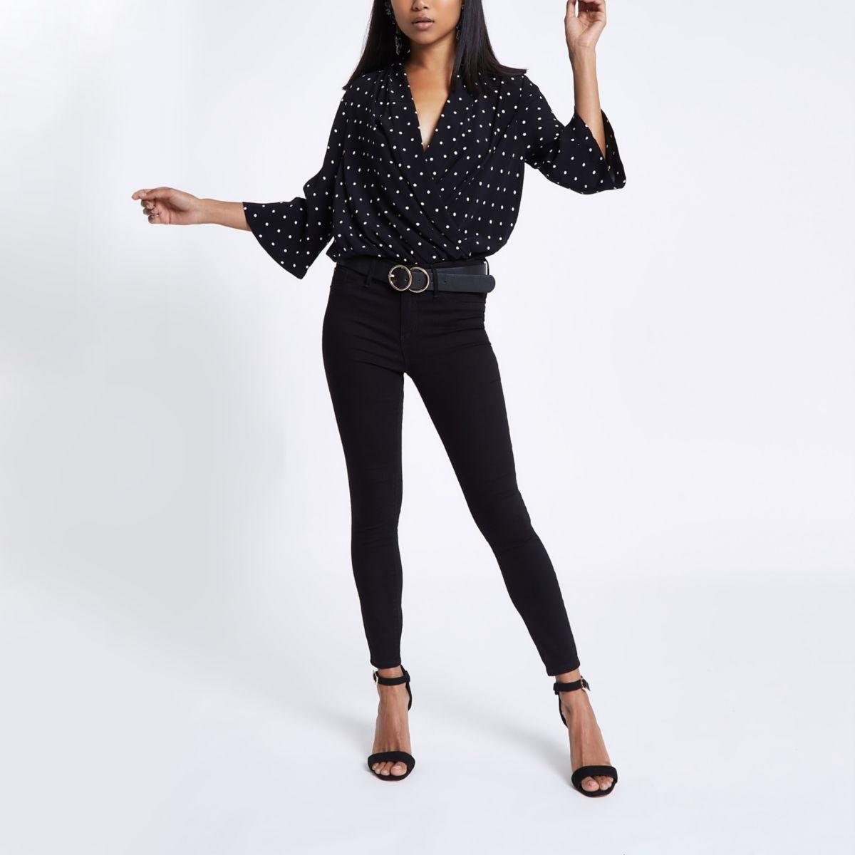 Petite black spot wrap bodysuit