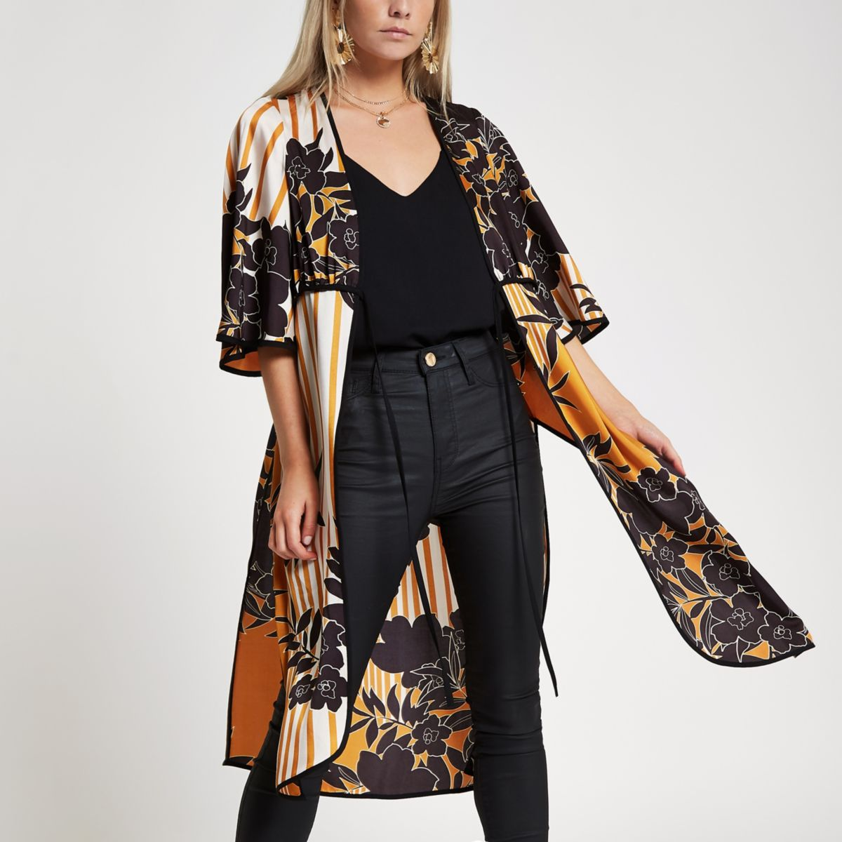 Low Price Sale Online Womens Petite Orange floral tie front kimono River Island Cheap High Quality Outlet With Paypal For Cheap Discount Buy Cheap Footlocker giCULI