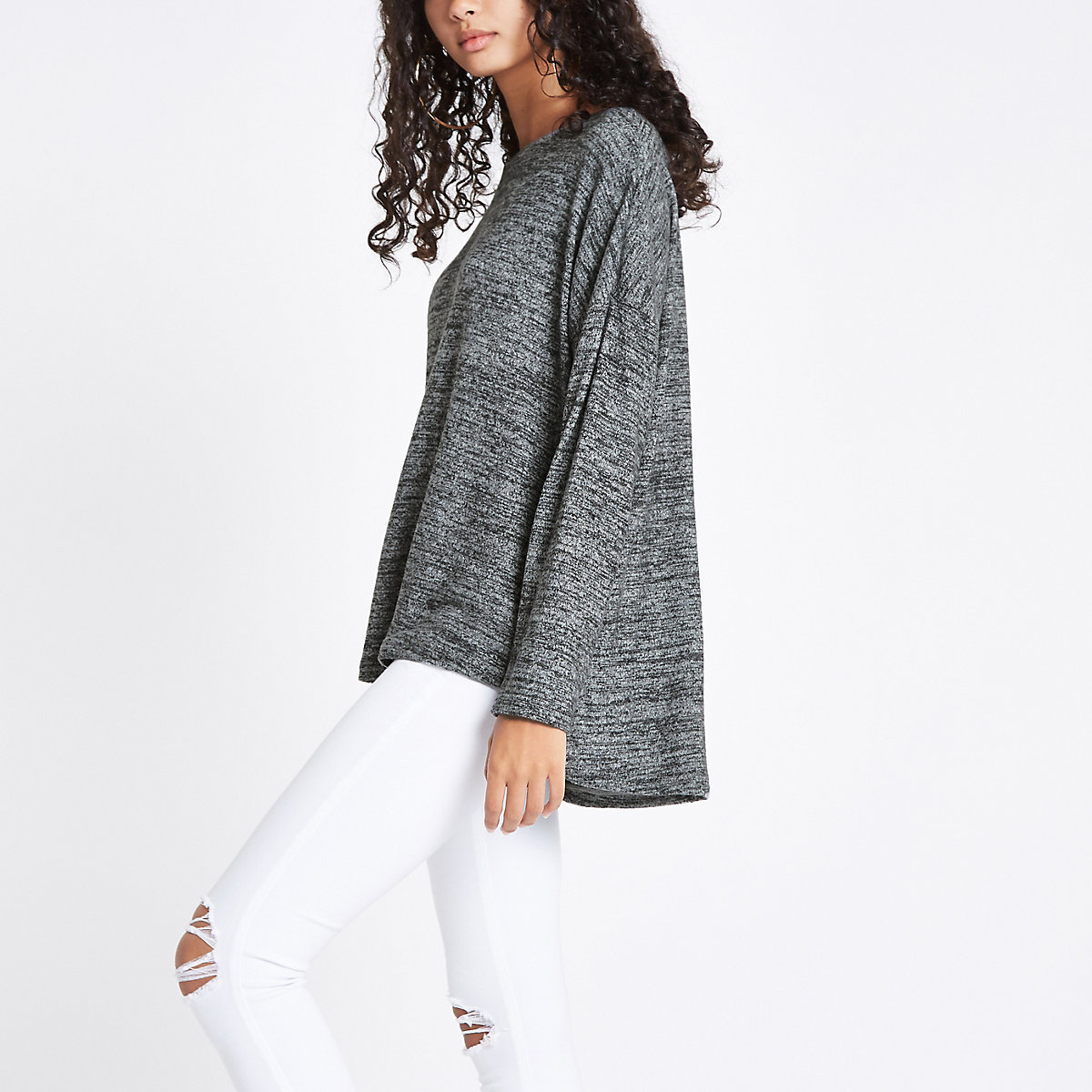 Dark grey stepped hem top