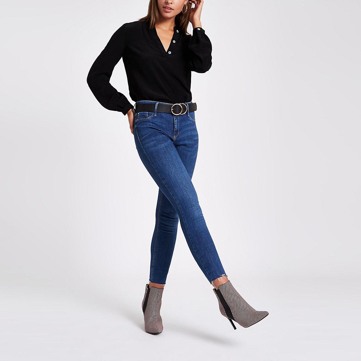 Black button long sleeve split back blouse