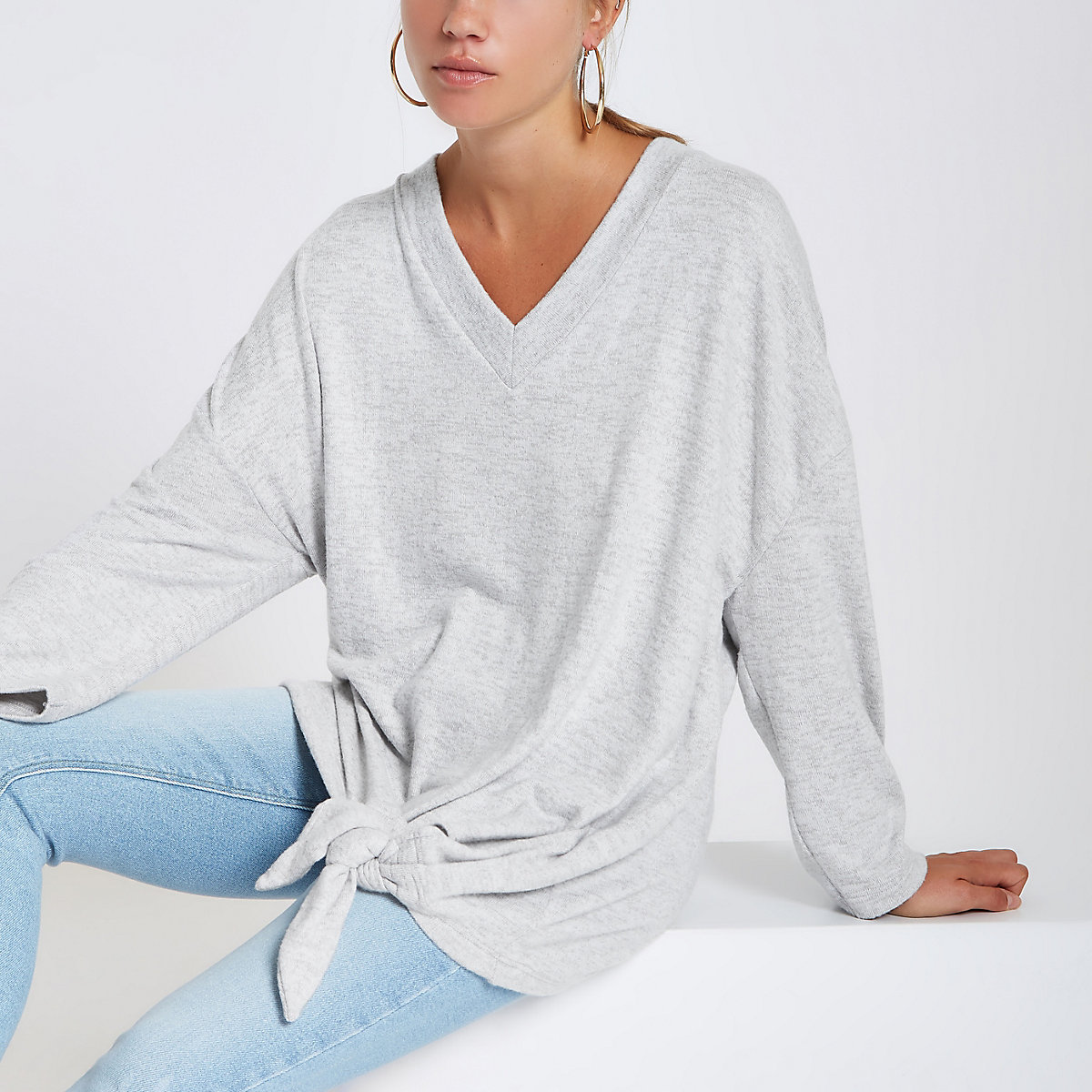 Grey V neck long sleeve tie side top