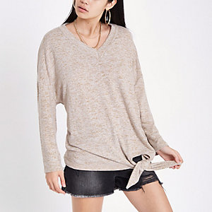 Beige V neck knot side top