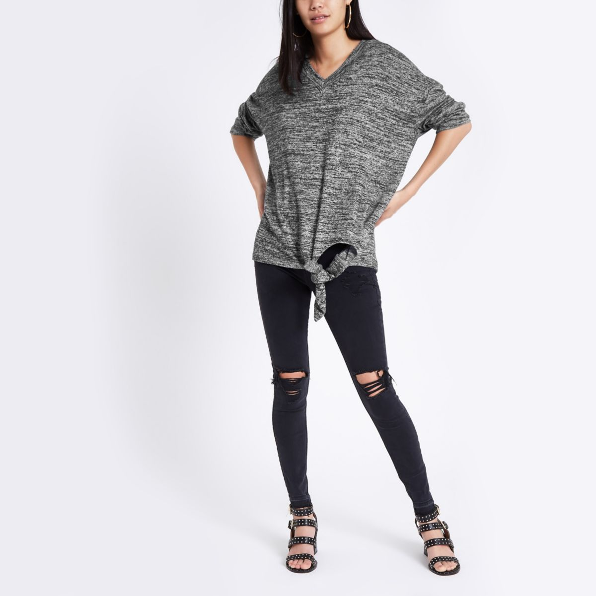 Dark grey V neck long sleeve tie side top