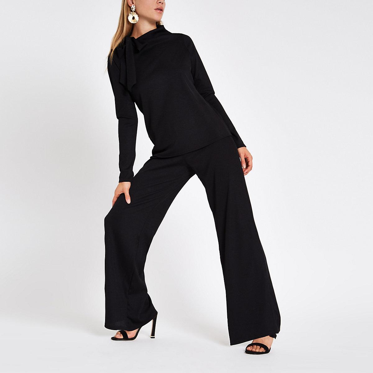 Black jersey wide leg pants