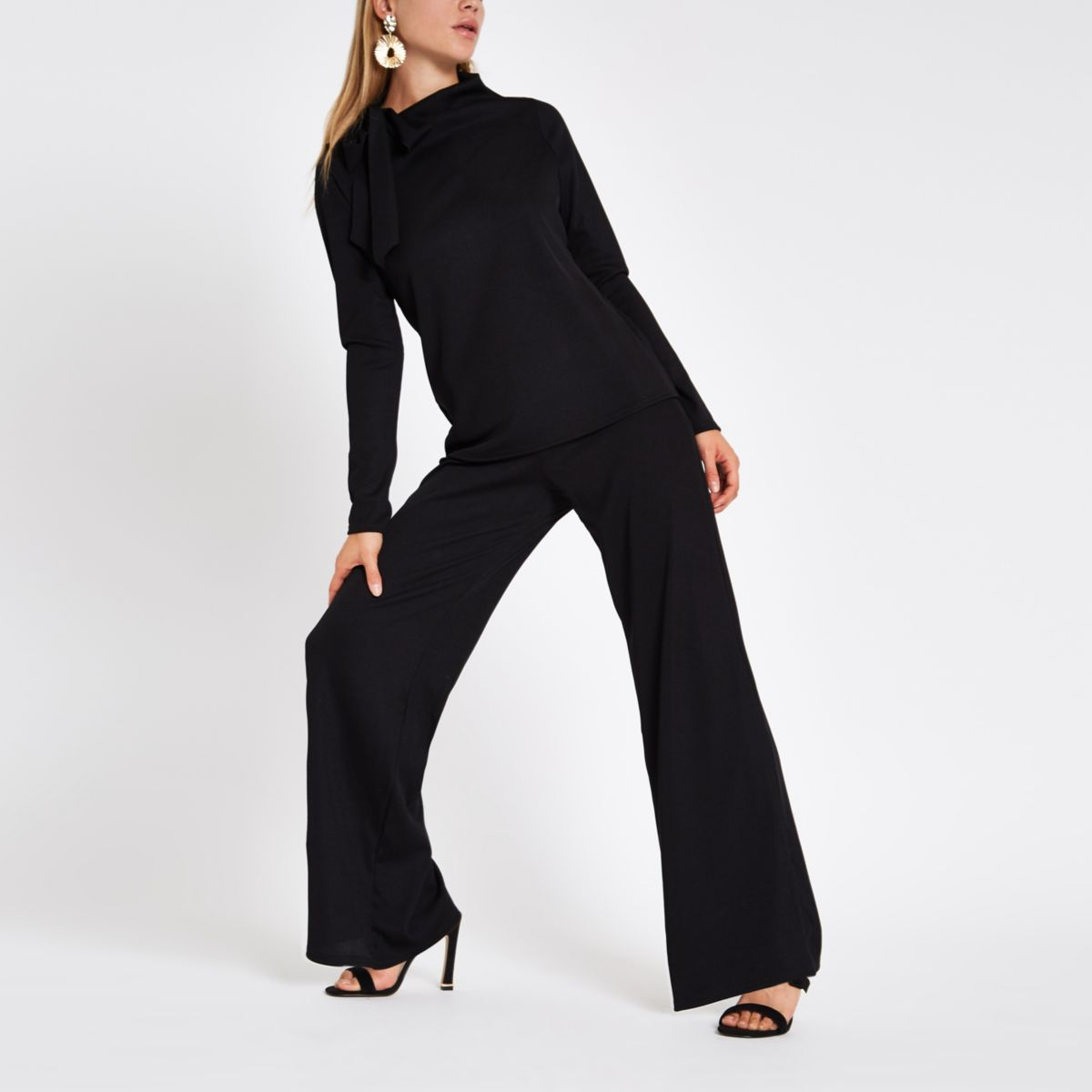 Black jersey wide leg trousers