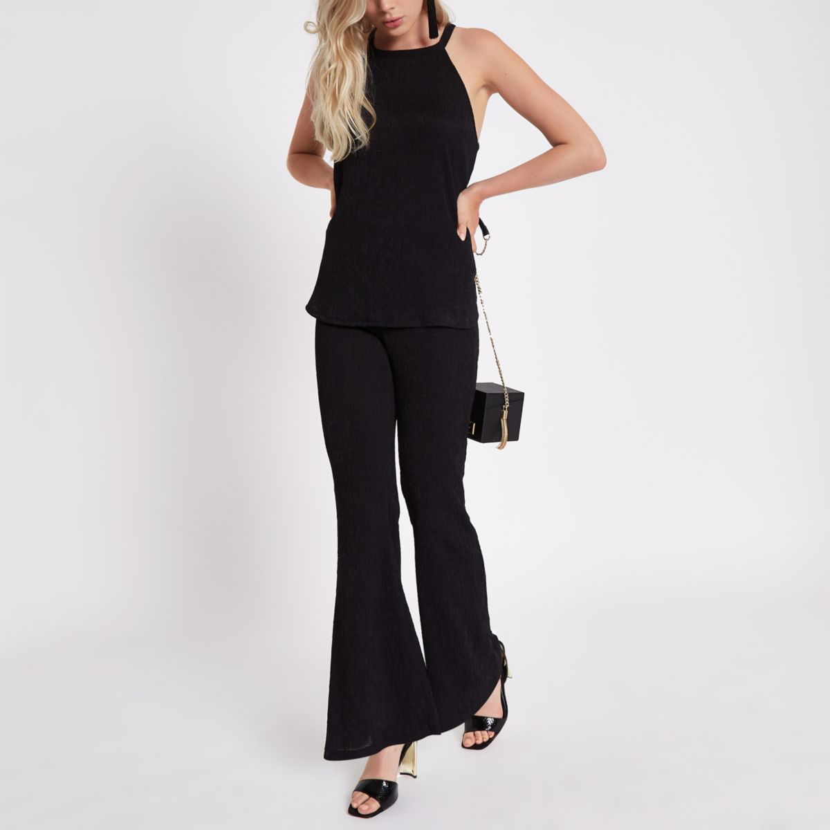 Black textured pants