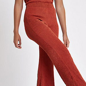 Roestkleurige broek met textuur