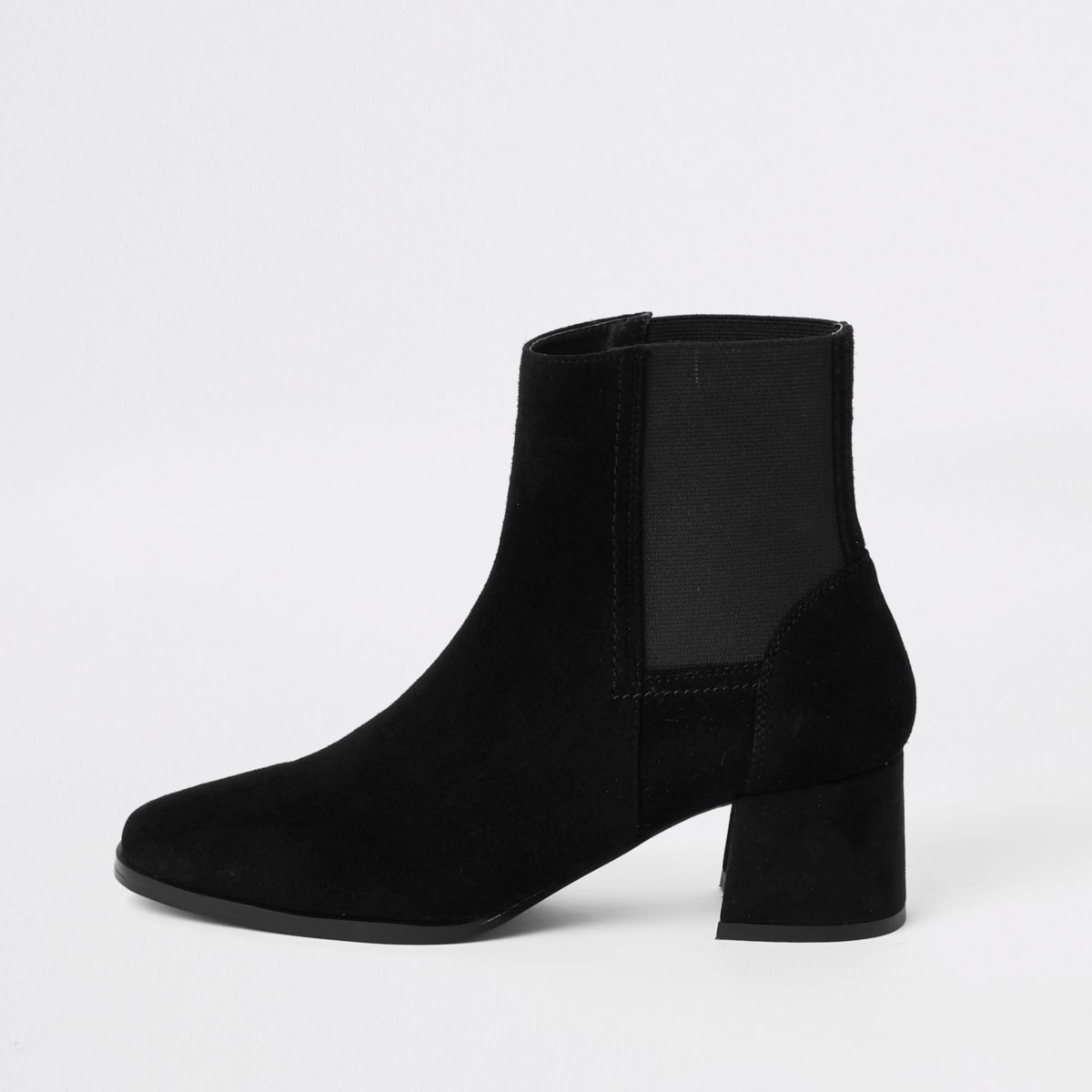 Black square toe block heel ankle boots