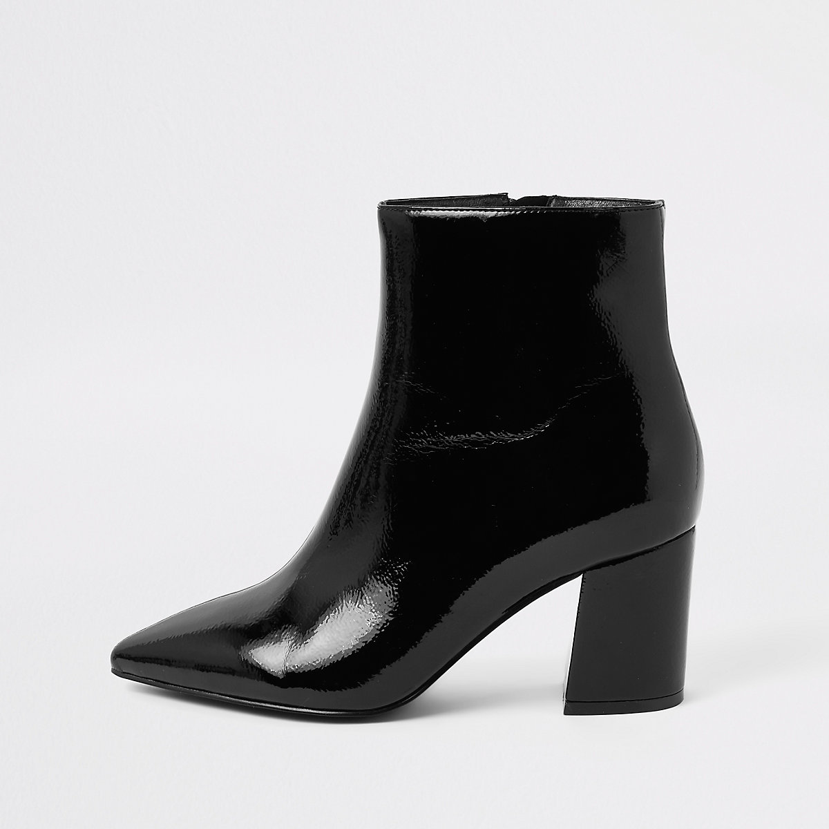 Black wide fit pointed block heel boots
