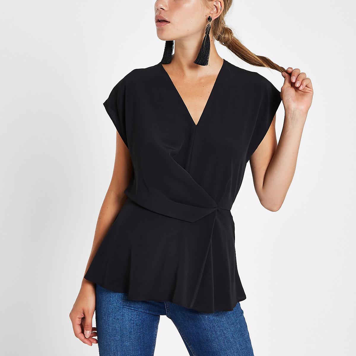 Black wrap tuck front blouse